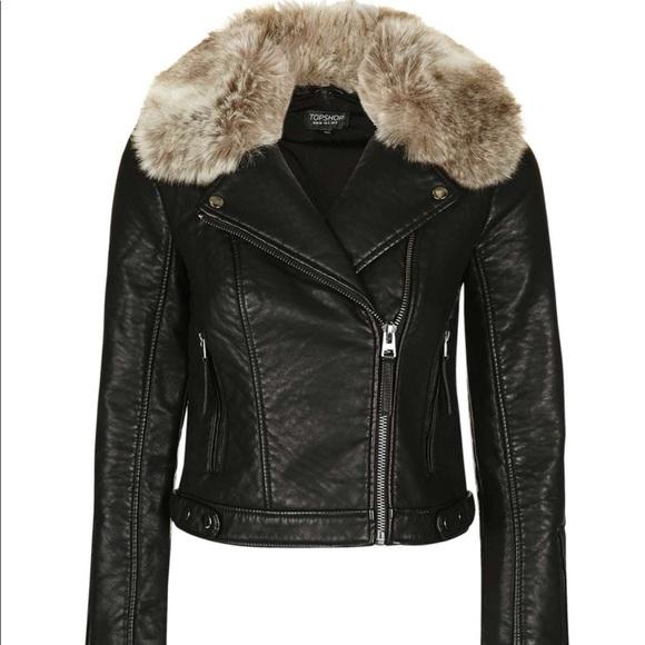 a2bea5fc15b91 TOPSHOP Honey Faux Fur Collar Faux Leather Jacket.  M 5a5d5a049cc7efeeaec61c67